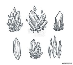 Buy Vector Crystals by abirvalg on GraphicRiver. Set of hand drawn vector crystals. Sketchy minerals isolated on white. Tattoo Sketches, Tattoo Drawings, Art Sketches, Art Drawings, Gem Drawing, Diamond Drawing, Diamond Sketch, Magic Drawing, Drawing Tips