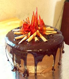 Bonfire cake! Made for my son's 8th birthday!