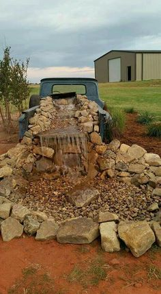 Old pick up stone waterfall