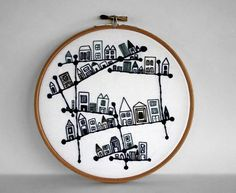 Blue and White Embroidered Constellation City Embroidery Hoop Art
