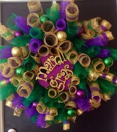 Curly Deco Mesh Mardi Gras Wreath on Etsy, $98.00