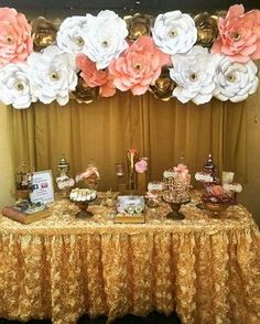 Beautiful golden sweet table for a very classy girl. Linda mesa de dulces en color dorado para una chica con mucha clase. #pinterest #partypins #golden #pink #white #paperflowers #inspiration #amazing #decoration #girls #classy #sweettable #desserts #delicate #tagsforlikes #useitasyouwantto #usalocomoquieras #goodevening #followus #celebration