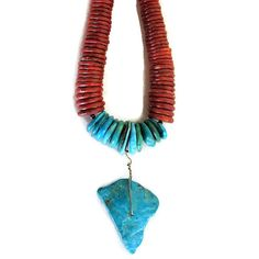 Turquoise Coral Pendant Tribal Necklace Wearable by phillyart2wear
