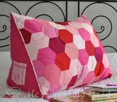 Sew Me Something Good - easy pieced hexagons to make a reading pillow. Pattern available.