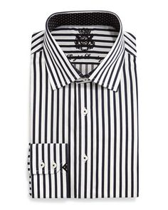 Striped Woven Dress Shirt, Black/White by English Laundry at Neiman Marcus Last Call.
