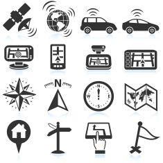 Self-driving autonomus cars travel and navigation icon set vector art illustration