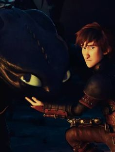Hiccup caring for Toothless