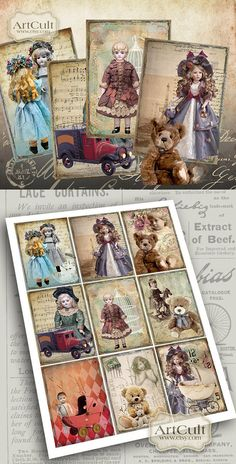 GRANNY'S+TOYS++Digital+Collage+Sheet+Printable+Gift+by+ArtCult,+$4.99