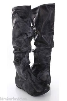New Sexy Black Slouchy boots Crinkle Faux Leather womens Mid Calf Flat Boots