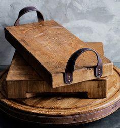 ❤ Rusztikus hatású egyszerű fa tálcák bőr fogantyúval ❤Mindy -  kreatív ötletek és dekorációk minden napra