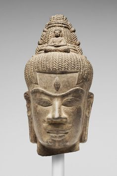 Vietnam, Head of Boddhisattva Avalokiteshvara, 10th C.  (My Son A1 Style). Features are the third eye and seated buddha in his crown.