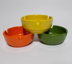 Ges Line Ashtrays Set of Three 70's Colors Mustard Yellow