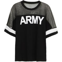 Choies Black ARMY Print Mesh Panel Short Sleeve T-shirt ($19) ❤ liked on Polyvore featuring tops, t-shirts, shirts, tees, black, pattern t shirts, print tees, black army shirt, black top and black short sleeve t shirt