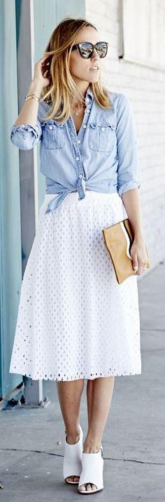 White Eyelet Skirt b