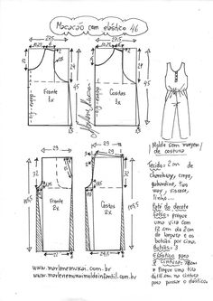 Corset Sewing Pattern, Sewing Patterns Free, Sewing Tutorials, Clothing Patterns, Jumpsuit Pattern, Pants Pattern, How To Make Clothes, Diy Clothes, Fashion Sewing