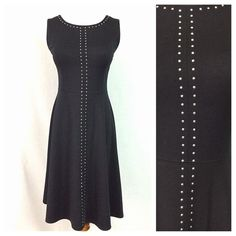 NWOT Black Chrome-colored Studded Sheath dress This beautiful dress pairs a classic cut with subtle embellishments that set you apart from the crowd. This dress will take you from day to night. The material is soft and luscious, and the exposed zipper is on trend. The polyester, rayon, and spandex blend means that the dress has good stretch and doesn't wrinkle easily. Effortless sophistication awaits you in this dress! Dresses