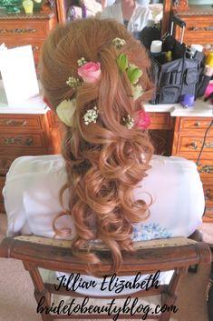 wedding hair, bridal hair, roses, flowers in hair Flowers In Hair, Bridal Hair, Your Hair, Wedding Hairstyles, Roses, Long Hair Styles, Bride, Beauty, Wedding Bride