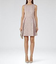 Womens Ice Rose Laser-cut Dress - Reiss Juniper