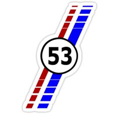 """VW 53, Herbie the Love Bug's racing stripes and number 53"" Stickers by ALIANATOR 