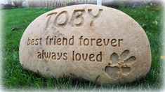 """Dog Memorial Deeply Engraved into Large Size River Rock (~10"""" - 12"""" wide) - Natural Stone (no paint fill) ~ by Earth Surface Engraving"""