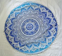 Indian Blue Round Tapestry Hippie Bohemian Floor Pillows Round Bean Bag Cover Living Room Home Decor Purple Decorative Boho Floor