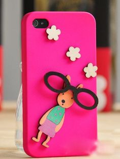3D Cartoon Rabbit Pattern Protective Case For IPhone 4/4S (Hot Pink) - VeryShop.com
