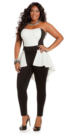 Plus Size Model: Liris Crosse   Liris Crosse in Color Block Scuba Jumpsuit