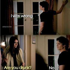 Hahaha :') Delena. Season 3. The Vampire Diaries. ♥