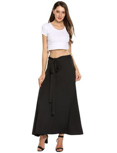 Zeagoo Womens Skirts Boho Elastic Maxi Long Solid Wrap Around Bow Tie Skirt