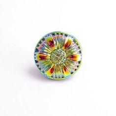BUT0049 18mm Rainbow Flower Czech Glass Button
