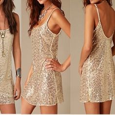 Free People sequin slip Can also be worn as a mini dress or more conservative with leggings. Perfect for the holidays. Good condition. Free People Dresses Mini