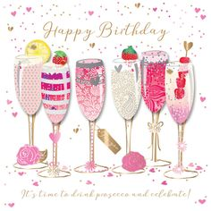 GBP - Happy Birthday Prosecco Handmade Embellished Greeting Card By Talking Pictures C & Garden Birthday Greetings For Dad, Happy Birthday Wishes Cards, Birthday Wishes And Images, Happy Birthday Friend, Birthday Blessings, Happy Birthday Pictures, Happy Birthday Sister, Birthday Cards, Happy Pictures