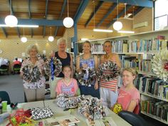 Wreath making workshops were held in Maclean, Yamba and Iluka libraries during December, a very social, relaxing time was had by young and old as the participants learnt how to recycle old books and magazines into a homemade funky Christmas Wreath.