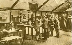 Photograph shows the interior of the Y. Eagle Hut in London, England. When the United States entered the First World War, U. Commander-in-Chief General John Pershing signed General Order World War One, First World, Us History, American History, London Bombings, Korean War, American Soldiers, Vietnam War, Wwii