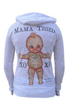 "Women's ""Mama Tried"" Zip Hoodie by Black Market Art (White) #inked #inkedshop…"