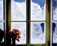 Winter window - hills, magic winter, peaceful, winter time, tree, magic, winter, landscape, hill, flowers, sky, splendor, mountains, nature, trees, beauty, beautiful, lovely, snow, winter splendor, clouds, snowy, window, view
