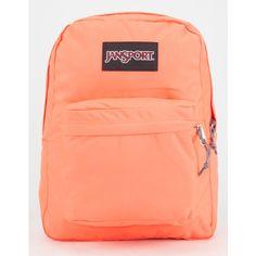 JanSport SuperBreak Backpack ($36) ❤ liked on Polyvore featuring bags, backpacks, cantelope, jansport daypack, polyester backpack, rucksack bag, padded backpack and strap backpack