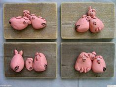 Little Pigs Stone / Pebble Art Pebble Painting, Pebble Art, Stone Painting, Rock Painting, Stone Crafts, Rock Crafts, Arts And Crafts, Painted Rocks Craft, Hand Painted Rocks