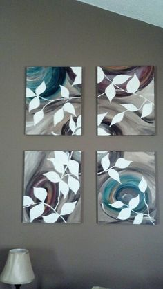 4 piece acrylic on canvas. Neutral leaf pattern.