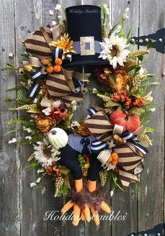 Fall Turkey Grapevine by Holiday Baubles 🍂 Xmas Wreaths, Thanksgiving Wreaths, Deco Mesh Wreaths, Thanksgiving Decorations, Halloween Decorations, Wreath Fall, Fall Decorations, Door Wreaths, Fall Crafts