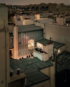 """archatlas: """" Rooftop Photos of Paris at Night """"Over Paris"""" is a gorgeous ongoing photo project by photographer Alain Cornu, who brings his large format field camera onto rooftops around the. Paris At Night, Paris Rooftops, Belle Villa, Paris Ville, City Lights, Photos, Pictures, Beautiful Places, Scenery"""