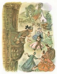 Illustration by Jan Marcin Szancer, Title: , Author: Famous Fairies, Children's Picture Books, Children's Book Illustration, Vintage Cards, Retro, Childhood Memories, Poppies, Fairy Tales, Vintage World Maps