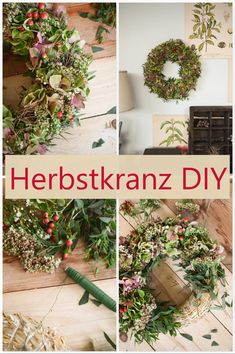 DIY Herbstkranz make yourself: wreath of hydrangeas, wax flowers, eucalyptus bin . - DIY autumn wreath make yourself: wreath of hydrangeas, wax flowers, eucalyptus bind wreaths. Diy Fall Wreath, Autumn Wreaths, Fall Diy, Christmas Wreaths, Pine Cone Flower Wreath, Berry Wreath, Hydrangea Wreath, Wax Flowers, Fabric Flowers