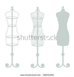 Vector set of mannequins in grey color
