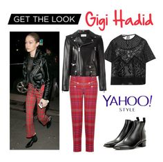 """Get the Look: Gigi Hadid"" by polyvore-editorial ❤ liked on Polyvore featuring Rochas, House of Holland, Yves Saint Laurent, Acne Studios, GetTheLook and yahoostyle"