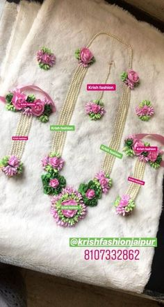 To get one for yourself or for your friends & relatives kindly contact 8107332862 Flower Jewellery For Mehndi, Gold Jewellery Design, Flower Jewelry, Flower Ornaments, Ornaments Design, Tassel Jewelry, Fabric Jewelry, Indian Wedding Jewelry, Bridal Jewelry
