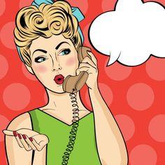 Pop femme art bavardant au téléphone rétro Comic femme avec speech bubble Pin up girl Vecteur gratuit