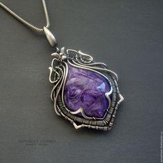 Купить серебряный кулон с чароитом Нежность шелка - фиолетовый, кулон с камнем, кулон с чароитом