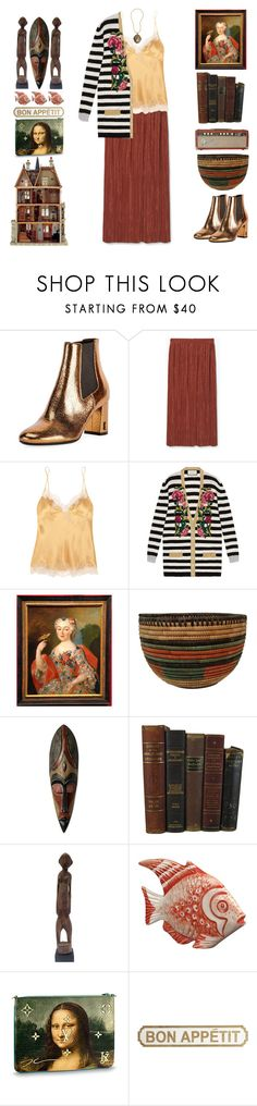 """""""Mona Lisa Smile"""" by doga1 ❤ liked on Polyvore featuring Yves Saint Laurent, MANGO, Carine Gilson, Gucci, NOVICA, Pier 1 Imports, Tory Burch and Retrò"""