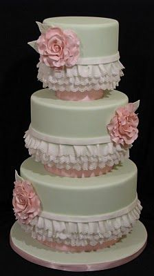 Pink flowers and frills cake.